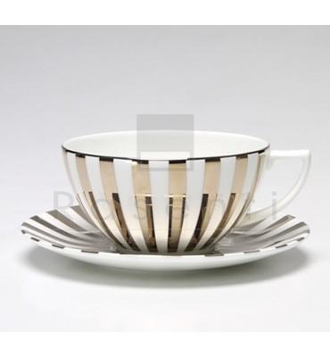 WEDGWOOD - JASPER CONRAN Platinum Striped Accent Tea Cup & Saucer