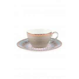 PIP STUDIO - FLOREAL set 4 tazzine espresso khaki con piattino